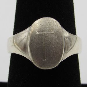 Vintage Size 7.5 Sterling Rustic T Initial Ring